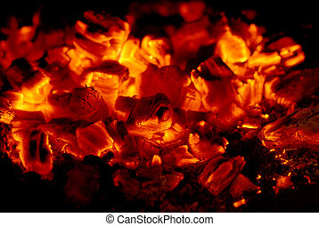 coals - live coals in the oven against black background