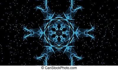 Live fractal, blue star shape with glittering small stars on black background. Calming mandala for meditation excersises. Full HD movie