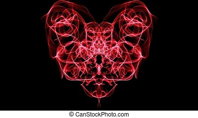 Live fractal heart shape pulsating, red heart on black background. Color intensity changing, seamless loop, full HD video