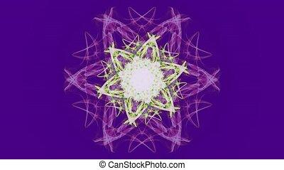 Live fractal mandala in watercolor design on ultraviolet...
