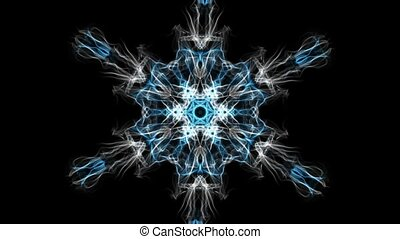 Live fractal, white and blue snowflake shape rotating and zooming on black background. Calming mandala for meditation excersises.
