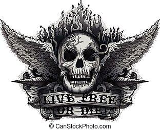 Live Free or Die: Grunge Biker Skull design with Flame &...