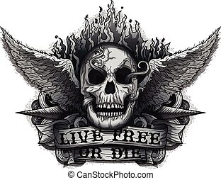 Live Free or Die: Grunge Biker Skull design with Flame &...