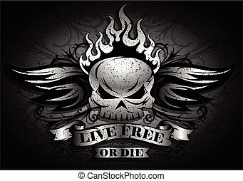 Live Free or Die - Skull Design - Live Free or Die: Tribal...