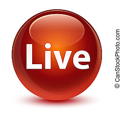 Live glassy brown round button