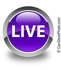 Live glossy purple round button