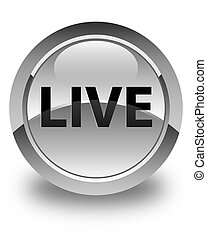 Live glossy white round button