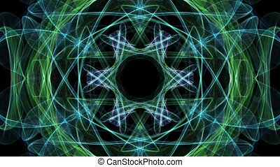 Live green and blue fractal calming mandala, video tunnel on black background. Animated symmetric patterns for spiritual and meditation training.