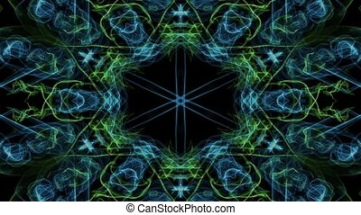 Live green and blue fractal mandala, video tunnel on black background. Animated symmetric patterns for spiritual and meditation training.