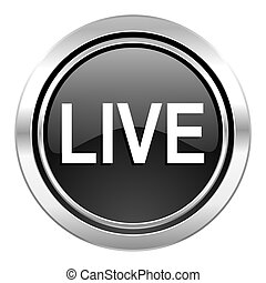live icon, black chrome button