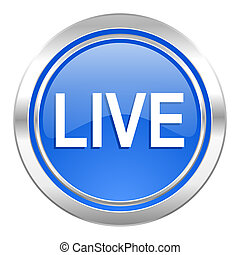 live icon, blue button