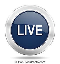 live icon, dark blue round metallic internet button, web and mobile app illustration