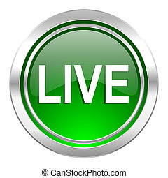 live icon, green button