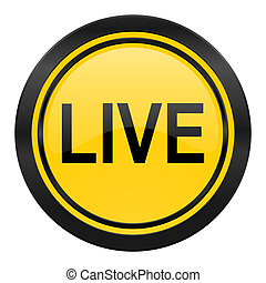 live icon, yellow logo,