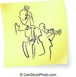 Live Jazz & Blues band on a post-it note