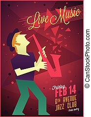 Live jazz music poster template
