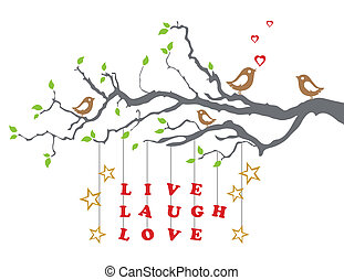 Love birds on a tree branch with live laugh love words. This image is a vector illustration.