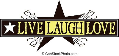 live laugh love primitive design with star and berries