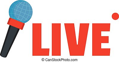 Live microphone icon, flat style.