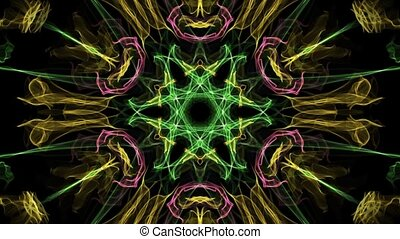 Live multicolored variegated fractal mandala, video tunnel...