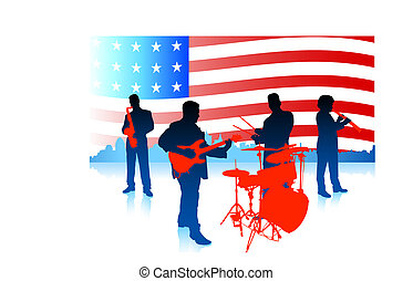 Live Music Band with American Flag Original Vector...