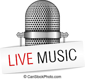 Live Music Banner - Microphone with live music banner,...