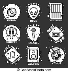 Live music festival, shop and recording studio emblems