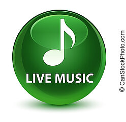 Live music glassy soft green round button