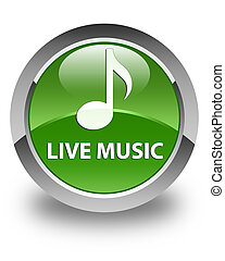Live music glossy soft green round button