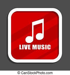 Live music icon. Flat design square internet banner.