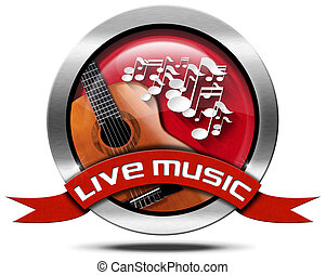 Live Music - Metal Icon - Metal icon or symbol with white...