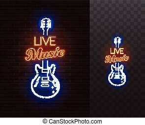 Live Music Neon Sign. Guitar with caption. Realistic vector illustration.
