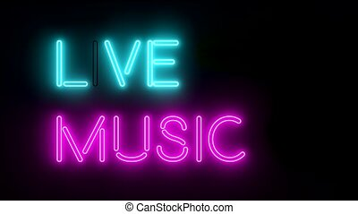 Live music neon sign lights logo text glowing multicolor