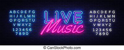 Live Music neon sign vector. Live Music Design template neon sign, light banner, neon signboard, nightly bright advertising, light inscription. Vector illustration. Editing text neon sign