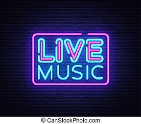 Live Music neon sign vector. Live Music design template neon sign, light banner, neon signboard, nightly bright advertising, light inscription. Vector illustration