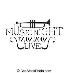 Live Music Night Concert Black And White Poster With Calligraphic Text And Trumpet