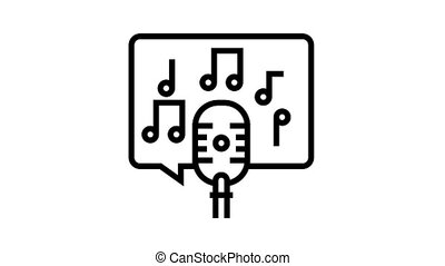 live music on radio channel animated black icon. live music on radio channel sign. isolated on white background