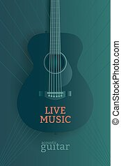 Live music poster design template. Acoustic guitar vector...