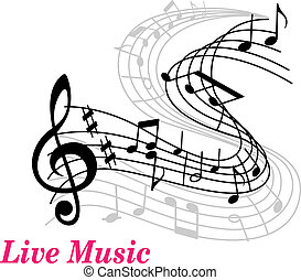 Live Music poster template with a clef, staff and music...