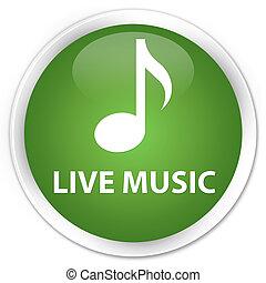 Live music premium soft green round button