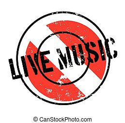 Live Music rubber stamp. Grunge design with dust scratches....