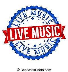 Live music sign or stamp