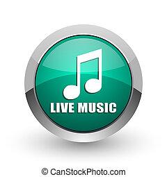 Live music silver metallic chrome web design green round internet icon with shadow on white background.