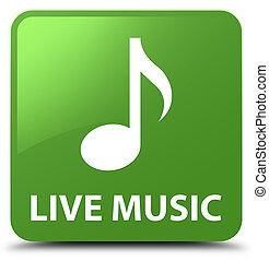 Live music soft green square button