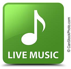 Live music soft green square button
