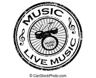 live music stamp - Black grunge rubber stamp with drums and...