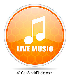 Live music web icon. Round orange glossy internet button for webdesign.