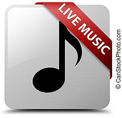 Live music white square button red ribbon in corner
