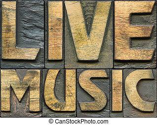 live music wooden letterpress