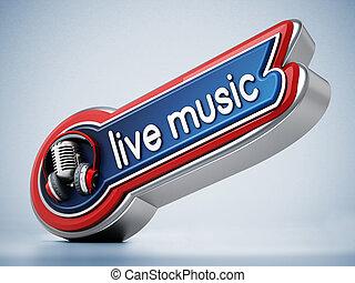 live musik, banner, mit, weinlese, microphone., 3d, abbildung